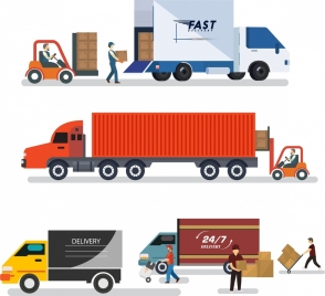 roadway logistic design elements various cars icons