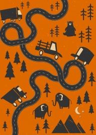 roadway map sketch black design cars animals icons