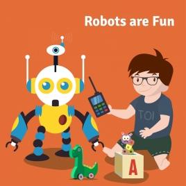 robot advertisement boy toy icons cartoon design