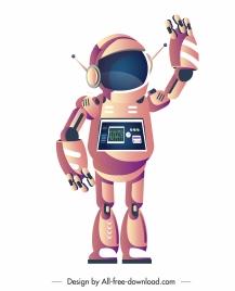 robot icon welcoming gesture humanoid shape cartoon sketch