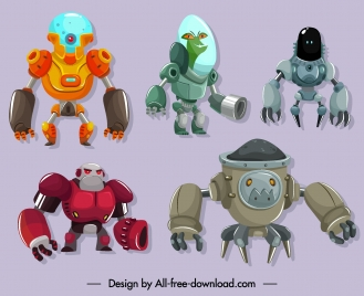 robot icons modern design cartoon sketch