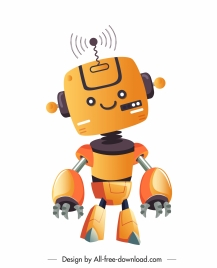robot model icon cute cartoon character sketch humanoid shape