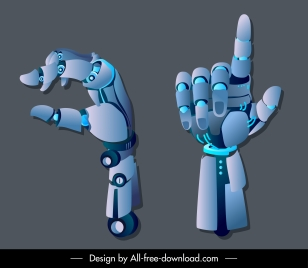 robotic hand icons modern 3d sketch