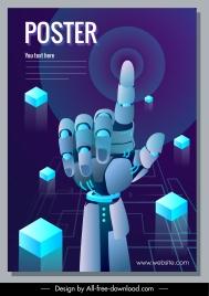 robotic technology poster modern 3d hand cubes sketch