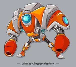 robotic warrior icon colorful modern design 3d sketch