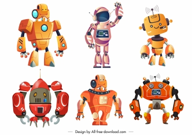robots icons colored modern humanoid design