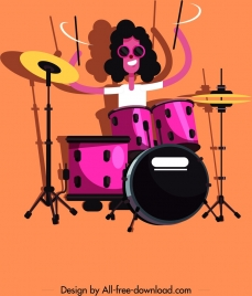 rock drum player icon colored cartoon character