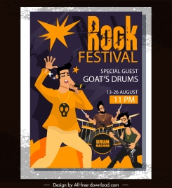 rock festival banner performance band sketch classic design