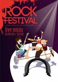 rock festival leaflet stylish rocker icons grunge decor