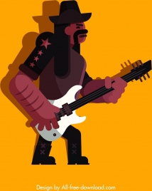 rock guitarist icon colored cartoon character sketch