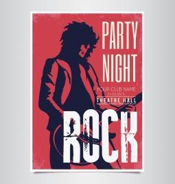 rock party banner singer silhouette dark red decor