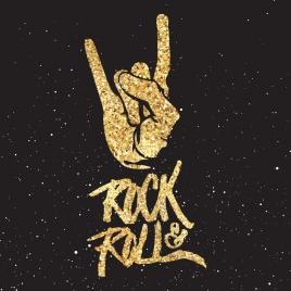 rock roll background glittering golden decor hand icon