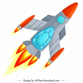 rocket painting soaring sketch colored modern design