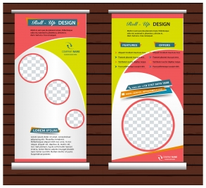 roll up banner vertical template with modern style
