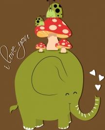 romance card template elephant mushroom ladybug icons decor