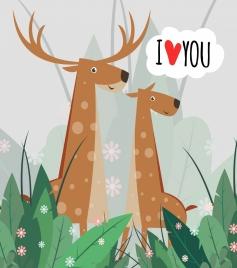 romance card template reindeer icons cute cartoon design