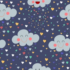 romance pattern stylized cloud hearts icons repeating decor