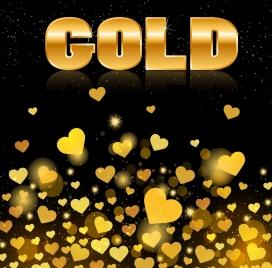 romantic background shiny golden hearts decoration