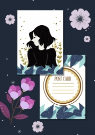 romantic postcard template girl icon flowers decoration