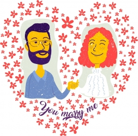 romantic wedding background couple flower heart layout decor