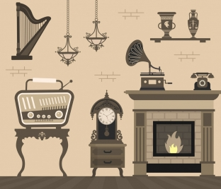room decor background retro furniture icons