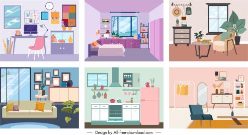 room decor templates colorful classic contemporary sketch