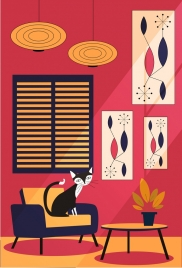 room decoration drawing furniture cat icons colored cartoon