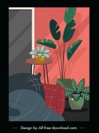 room decorative painting sofa flowerpots sketch retro design