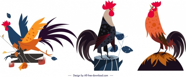 rooster animal icons colored cartoon design