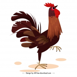 rooster icon colored cartoon sketch