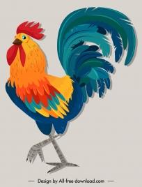 rooster icon colorful classica design