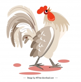 rooster painting colored classic flat sketch