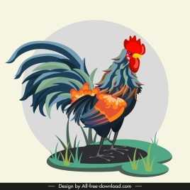 rooster painting colorful classical design