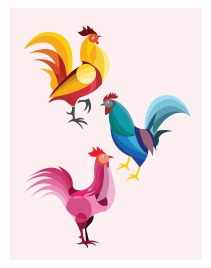 roosters collection isolated in various colors