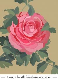 rose flower painting colored retro design