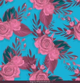 roses pattern colored classical decor