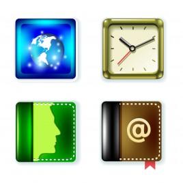 round square icons set