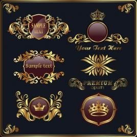 royal logo design elements golden shiny classical decor