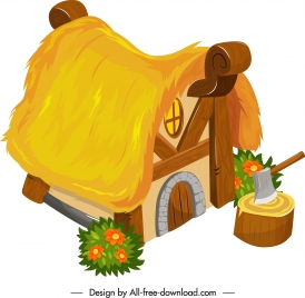 rural house icon straw roof decor classical design
