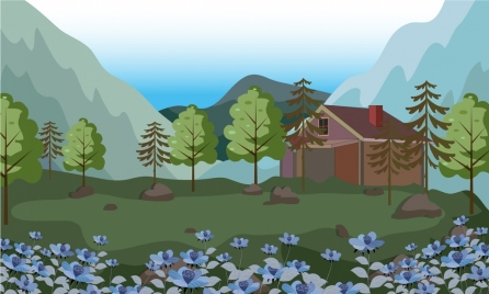 rural landscape painting cottage flowers mountain icons decor