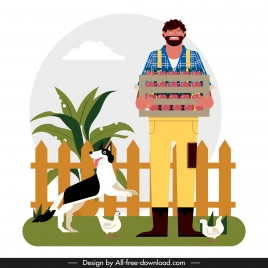 rural life background farmer dog farmer chicken