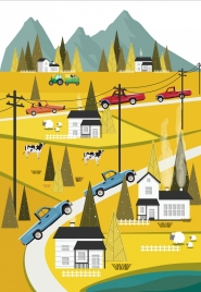 rural traffic painting cars road houses cattle icons decor