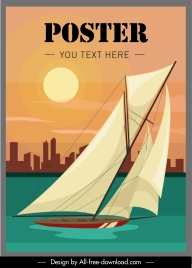 sailboat advertising poster colorful motion sketch