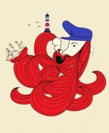 sailor icon man hair sea ship lighthouse decor