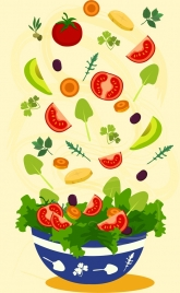 salad background colorful vegetable bowl icons