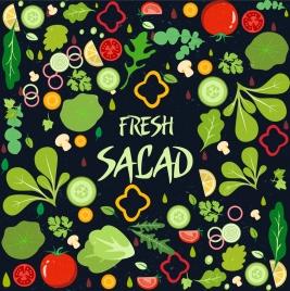 salad background fresh vegetable icon multicolored design