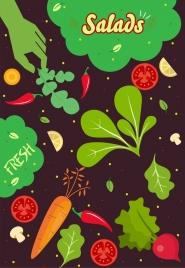 salad ingredients background multicolored vegetable icons dark design