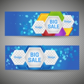 sale banner sets on bokeh hexagons background