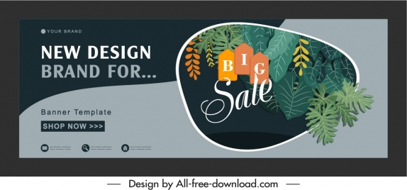 sale banner template classic dark design leaves decor