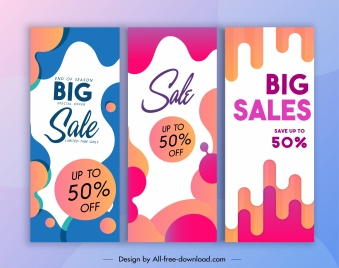 sale banner templates colorful abstract flat deformed decor